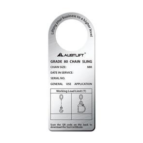 G80 Single Leg Chain Sling Tag SWL S/Steel