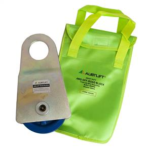 Off-Road Block c/w Vinyl Bag (4WD Recovery) MBS 8T, Sheave 125mm, wire rope 11mm