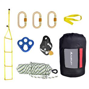 Webbing rescue ladder with kern mantle rope, rope grab and karabiners complete in bag