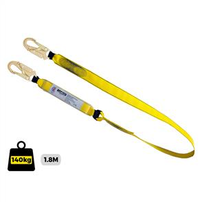 Fall Arrest webbing Lanyard.1.8m with shock absorber and double action snap hook each end. Certified to AS/NZS 1891.1
