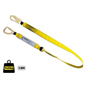 Lanyard Single 1.8m with shock absorber and triple action snap hook each end. Certified to AS/NZS 1891.1