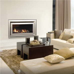 Escea Indoor Gas Fireplace DL850 Logs, Silver Quad Fascia, Flue