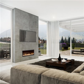 Escea Indoor Gas Fireplace DX1000 Crystalight Bed, Frameless Fascia, 3 Outlets, Flue