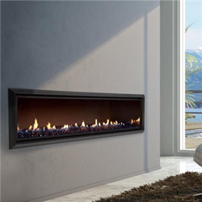 Escea Indoor Gas Fireplace DX1500 Crystalight Bed, Black Bevelled Fascia, Flue