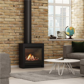 Escea Freestanding Gas Fireplace DFS730 Volcanic Black , Logs, Flue