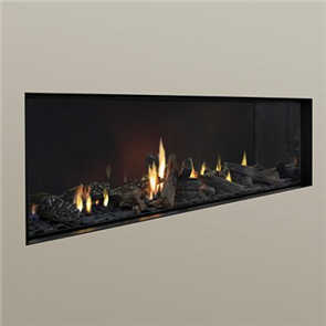 Escea Indoor Gas Fireplace DS1400 Logs, Linear Fascia, Flue