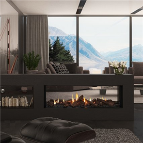 Escea Indoor Gas Fireplace DS1400 Double Sided, Logs, Linear Fascia, Flue