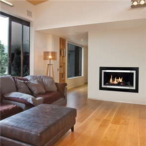 Rinnai Symmetry Fireplace with Stainless Steel on Black Fascia