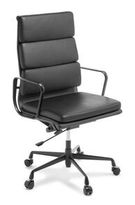 Eames Replica Soft Pad High Back Chair Black Leather Black Frame