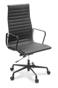 Eames Replica Classic High Back Chair Black frame Black Leather
