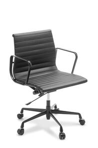 Eames Replica Classic Mid Back Chair Black Frame Black Leather