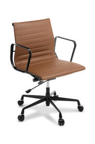 Eames Replica Classic Mid Back Tan Leather Chair Black Frame