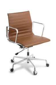 Eames Replica Classic Mid Back Tan leather Chair