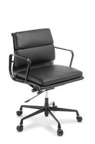 Eames Replica Soft Pad Mid Back Chair Black Frame Black Leather