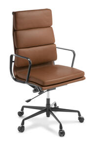 Eames Replica Soft Pad High Back Chair Tan Leather Black Frame