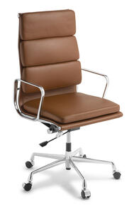 Eames Replica Soft Pad High Back Chair Tan Leather Chrome Frame