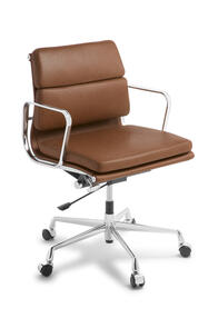 Eames Replica Soft Pad Mid Back Tan Leather Chair