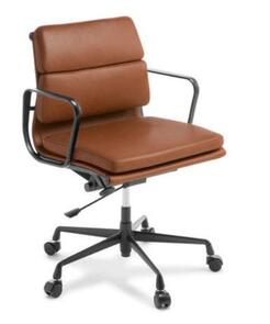 Eames Replica Soft Pad Mid Back Chair Tan Leather  Black Frame