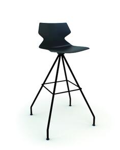 Konfurb Fly 4-Leg Swivel Bar Stool Black Frame