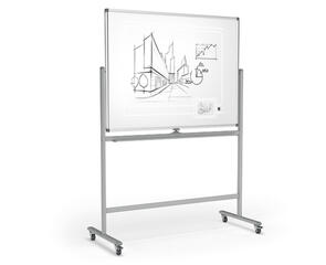 Mobile Pivoting Whiteboard Porcelain (Ceramic)