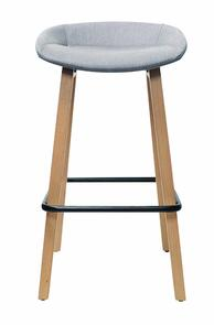 Konfurb Pala Barstool with upholstered seat in Grey Fabric