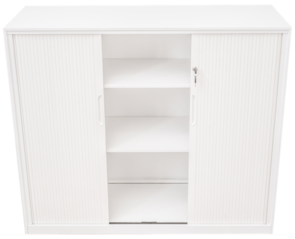 Proceed 4 Tier 1200h x 900w Tambour with 3 Shelves White