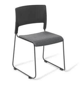 Eden Slim Chair Black Frame with Upholstered Seat