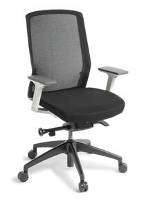 Eden Track White Chair Black Base with Arms