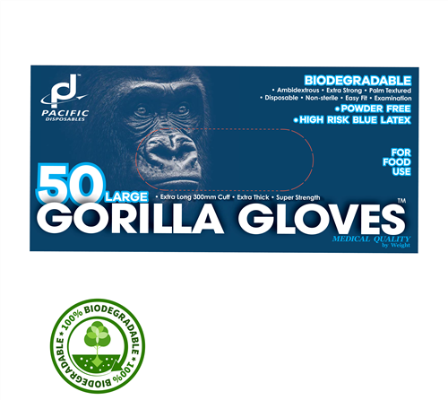 Pacific Disposables Gorilla Blue Latex Gloves
