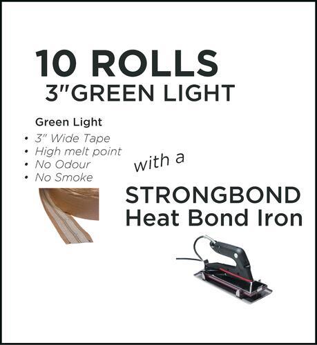 Strongbond Heat Seam Tape Combo Green Light with Heat Bond Iron
