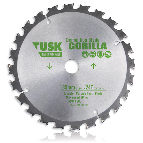 Tdb 165 20t Tusk Tct Demolition Blades 165 Mm