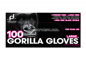 Pacific Disposables Gorilla Black Nitrile Gloves