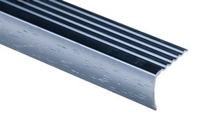 Strongbond Pewter Bright Domestic Hammered 8917.L20  Stair Nosing Aluminium Floor Trim 2.44m