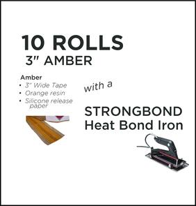 "Strongbond Heat Seam Tape Combo 3"" Amber with Heat Bond Iron"