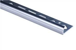 Roberts TRA100-B Bright Silver Finish Round Edge Aluminium Tile Trim 10 x 2500 mm
