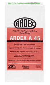 Ardex A45 Rapid Hardening and Drying Internal Repair Mortar 20 kg