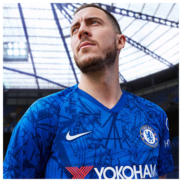 The club's classic blue jersey is covered in an all-over graphic