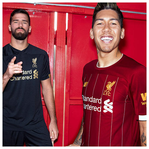 The 2019-20 Liverpool FC home shirt features white pin stripes