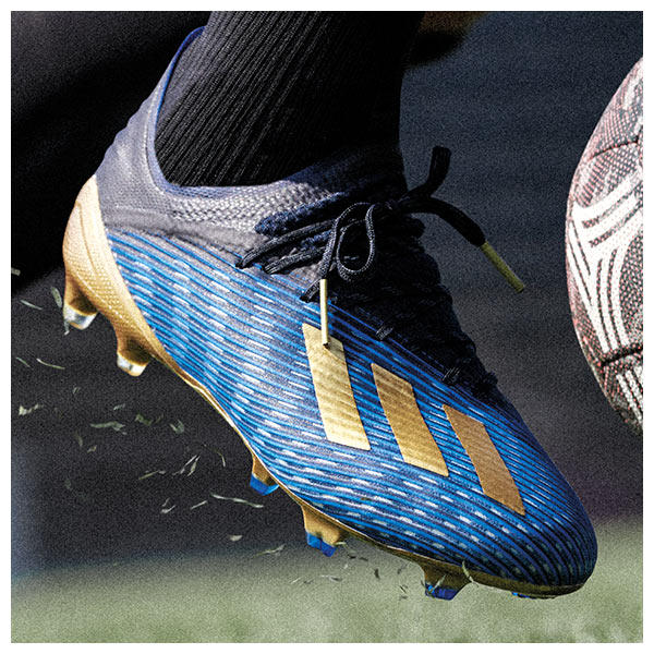 as part of the adidas Inner Game pack the X 19 has received a a stunning black, blue and gold dressing