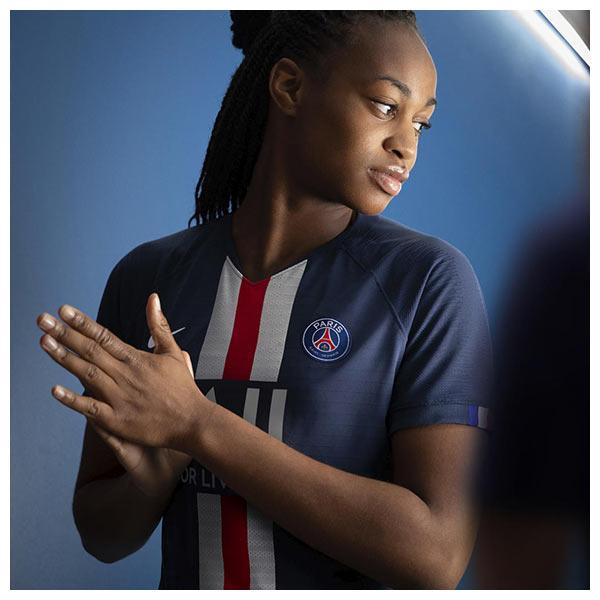 Marie-Antoinette Katoto wears the Paris Saint-Germain's (PSG) 2019-20 home kit