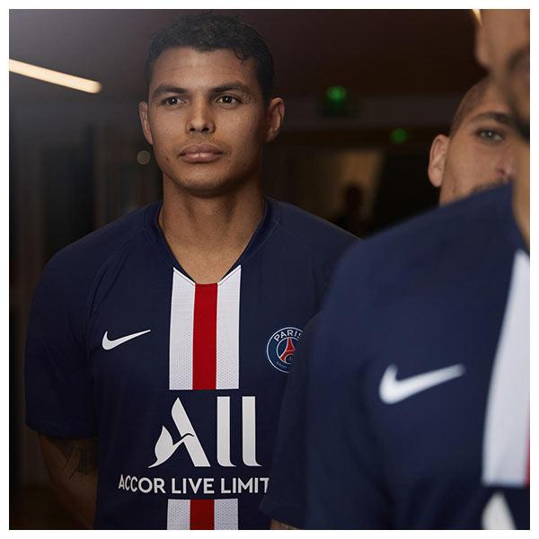 Thiago Silva wears the Paris Saint-Germain's (PSG) 2019-20 home kit