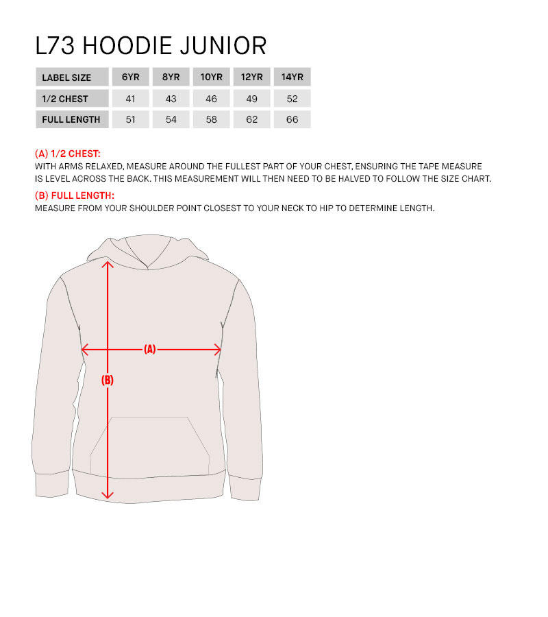 Lotto Teamwear sizing guide