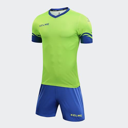 d837edd6c6e Kelme Dominar Jersey   Short Set – Neon Green Royal Blue