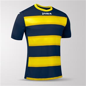 Joma Europa III Short Sleeve Shirt – Navy/Yellow