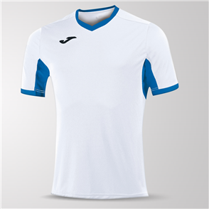 Joma Champion IV Short Sleeve Shirt – White/Blue