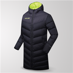 Kelme Duck Down Long Jacket – Black/Grey