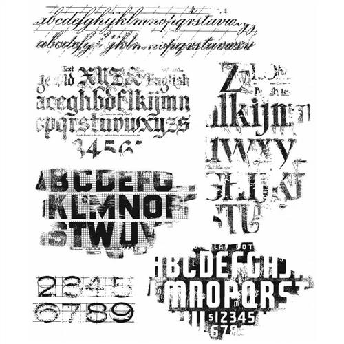 """Tim Holtz Cling Stamps 7/""""X8.5/""""-Faded Type CMS-397"""
