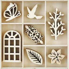 Kaisercraft  Wood Embellishments - Secret Garden, 35/Pkg