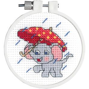 "Janlynn  Kid Stitch Mini Counted Cross Stitch Kit 3"" Round - Rainy Day Elephant"