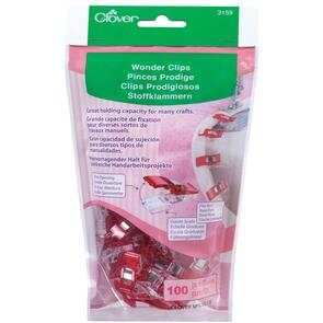 Clover Wonder Clips 100/pkg - Red